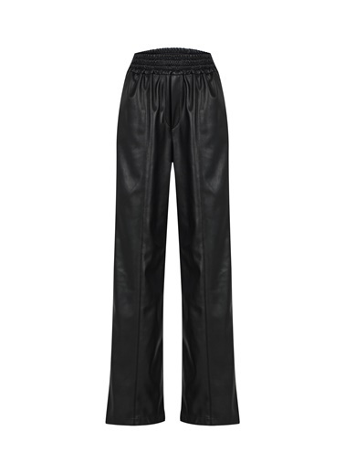 Quzu Beli Lastikli Deri Pantolon  Siyah